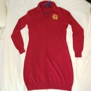 Red sweater dress by Ralph Lauren